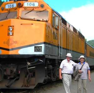 John and Elaine with Agawa Canyon Train