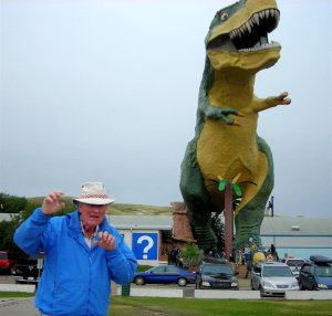 John with Drumheller Dinosour