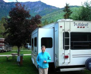 Elaine at Canyon Hot Springs Campsite, near Revelstoke