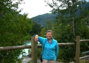 Elaine at Kicking Horse Pass, near the Spiral Tunnels