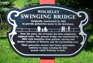 Wolesly Saskatchewan - Suspension Bridge plaque