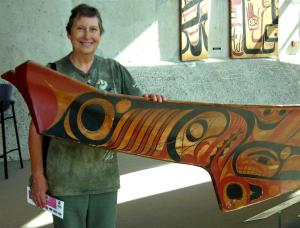 Elaine with Magnificent Carved Dugout Canoe