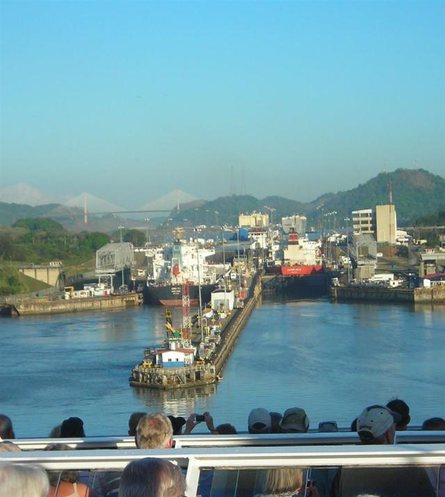 Entering the Panama Canal.  Will it fit?